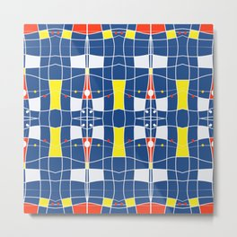 Nautical blue tiled modern plaids Metal Print