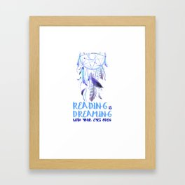 Reading is dreaming blue Framed Art Print