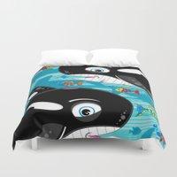 killer whale Duvet Covers featuring Killer Whale & Fish by markmurphycreative