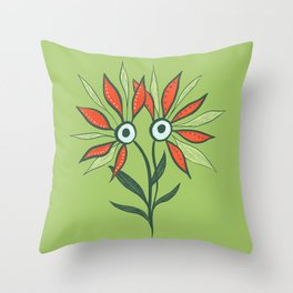 Cute Eyes Flower Monster Throw Pillow