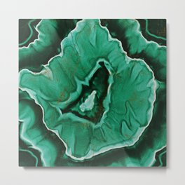 Malachite Marble With Gold Veins Metal Print