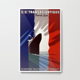 Vintage French Transatlantic Travel Metal Print