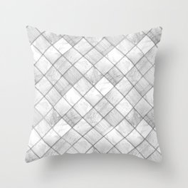 Faux Patchwork Quilting - White & Silver Pattern Throw Pillow