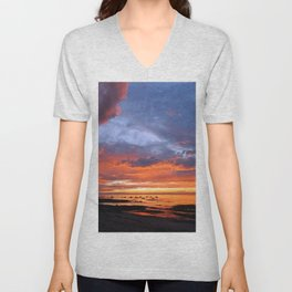 Stunning Seaside Sunset Unisex V-Neck