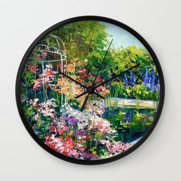 Pond in flowers Wall Clock