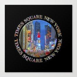 Times Square New York Badge Emblem (on black) Canvas Print