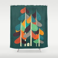 cabin Shower Curtains featuring Cabin in the woods by Picomodi
