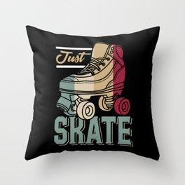 Just Skate | Retro Roller Skating Throw Pillow