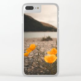 California Poppies in the Mountains - Lake Tekapo, New Zealand Clear iPhone Case