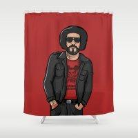 ali gulec Shower Curtains featuring Ali Primera POP - TrincheraCreativa by Trinchera Creativa