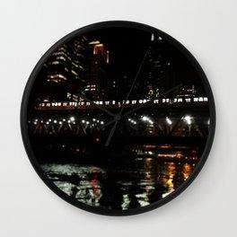 Chicago El and River at Night Wall Clock