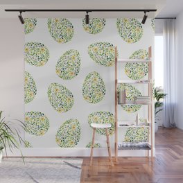 Artistic hand painted yellow green watercolor floral easter eggs Wall Mural