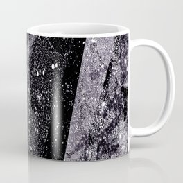 Glitter Silver Star Gaze Black White Retro Vintage Coffee Mug