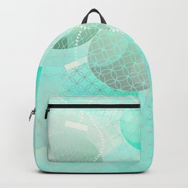 Silver and Mint Blue Christmas Ornaments Backpack