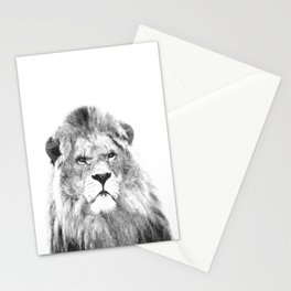 Black and white lion animal portrait Stationery Cards