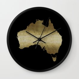 australia map gold foil black background Wall Clock