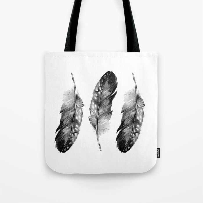 Three Feathers Black And White Tote Bag