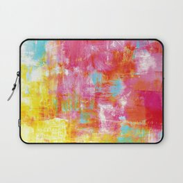 OFF THE GRID 2 Colorful Pink Pastel Neon Abstract Watercolor Acrylic Textural Art Painting Rainbow Laptop Sleeve