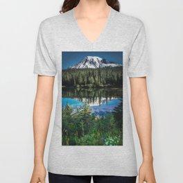 Mountain Lake Reflection 2017 Unisex V-Neck