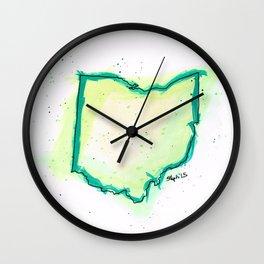 Green Ohio Wall Clock