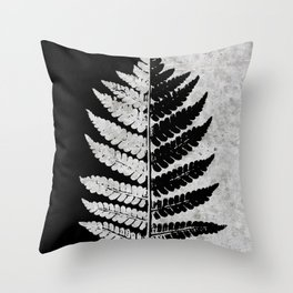 Natural Outlines - Fern Black & Concrete #100 Throw Pillow