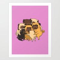 pugs Art Prints featuring Pugs Group Hug by Huebucket