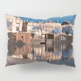 Nantes Riverside Scenery - Winter Blue Fantasy Pillow Sham