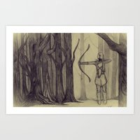 lotr Art Prints featuring Legolas LOTR - the noisy silence of woods by Blanca MonQnill Sole