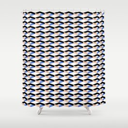 Retro Geometric Abstract Repeat Pattern Shower Curtain