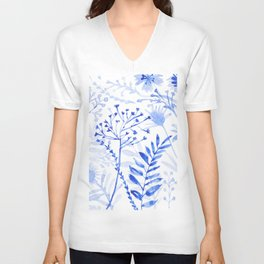 Chamomile Daisies, Eucalyptus, Fennel, Hypericum Floral Watercolor Painting by Tzechee Unisex V-Neck