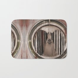 (Marlboro Red bar-code) silhouette of lungs against ball bearing  Bath Mat