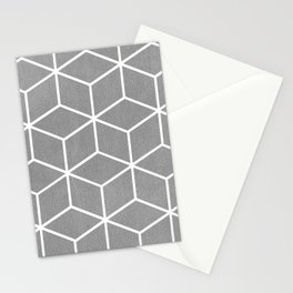 Light Grey and White - Geometric Textured Cube Design Stationery Cards