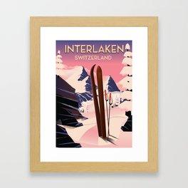 Interlaken Switzerland travel poster. Framed Art Print