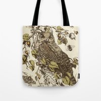 botanical Tote Bags featuring Great Horned Owl by Teagan White