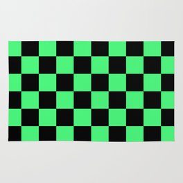 Black and Green Checkerboard Pattern Rug