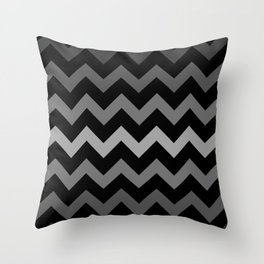 Deep Gray Gradient Chevron on Black Throw Pillow