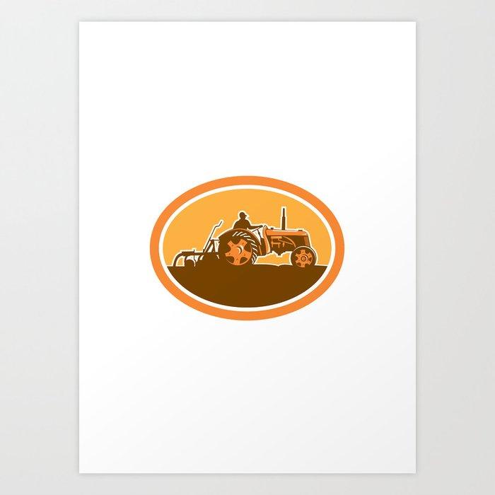 Farmer Driving Vintage Farm Tractor Oval Retro Art Print By Patrimonio