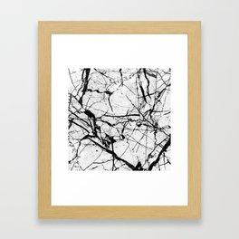 Dusty White Marble - Textured Black And White Framed Art Print