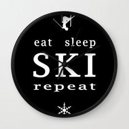 eat sleep ski repeat black Wall Clock