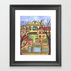 Autumn town Framed Art Print