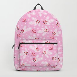 Pine branches, snowflakes and berries on pink Backpack