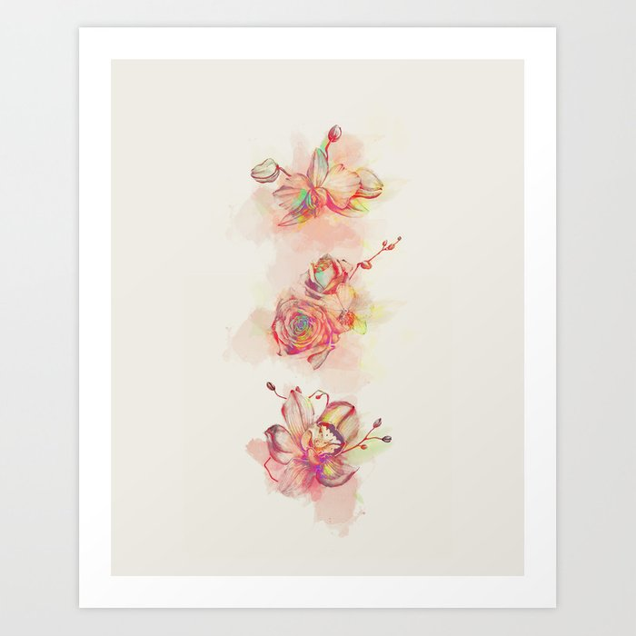 Roses & Orchids Art Print