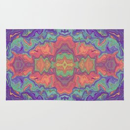 Sunset Colors Abstract Watercolor Marble Rug