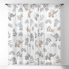 Little Elephant safari rainbow love neutral nursery Sheer Curtain