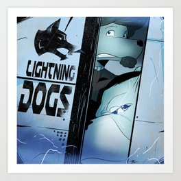 Lightning Dogs :: Beware the Glampire! by Tony Baldini Art Print