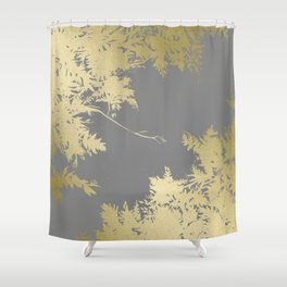 Night's Sky Gold & Grey Shower Curtain