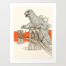 Godzilla vs. the Brooklyn Bridge Art Print