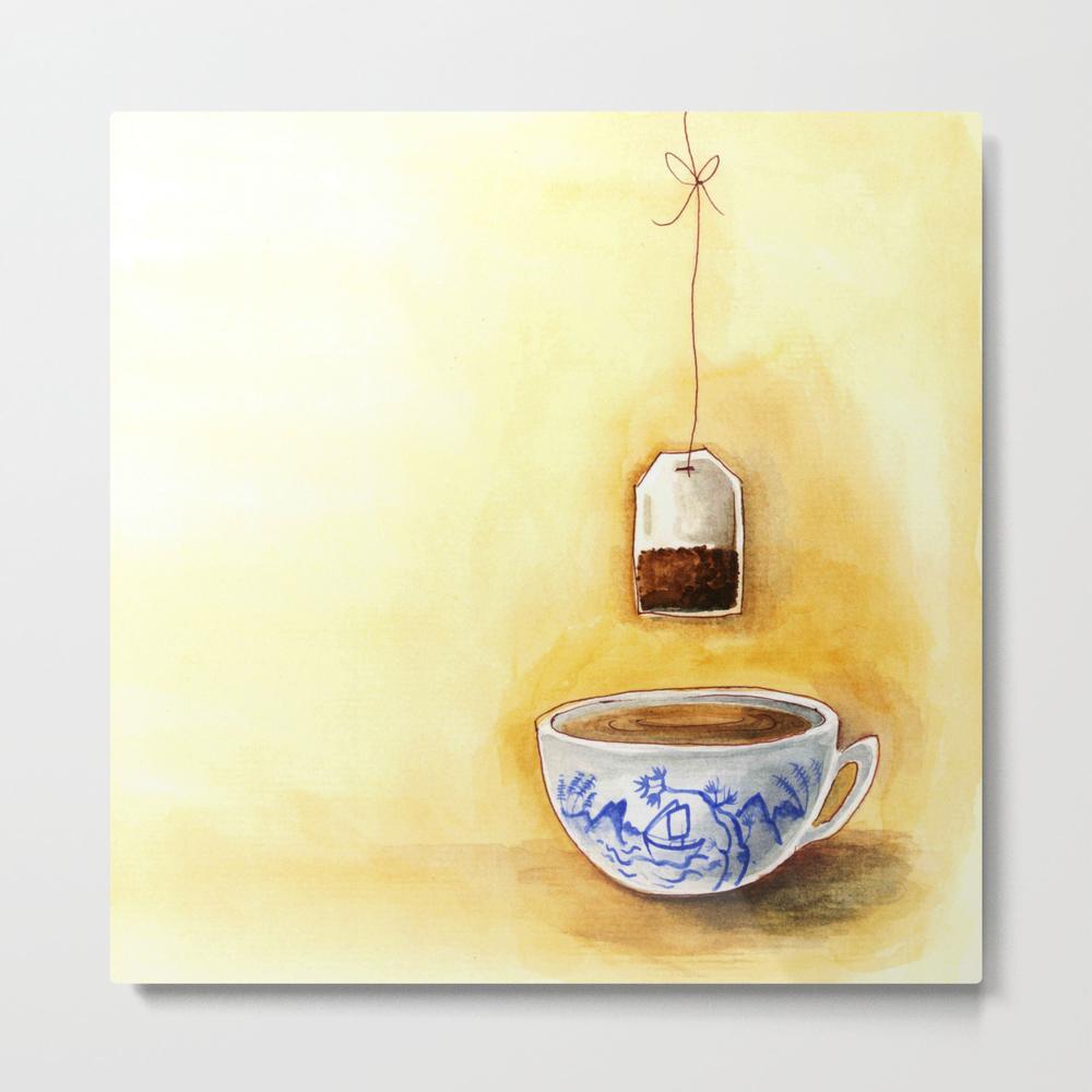 A Cup Of Tea Watercolor Illustration Metal Print by Bonheurem MTP9020234
