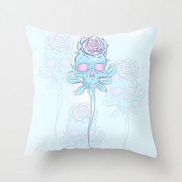 Skull rose plain Throw Pillow