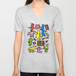 Keith Haring & Simpsons Unisex V-Neck